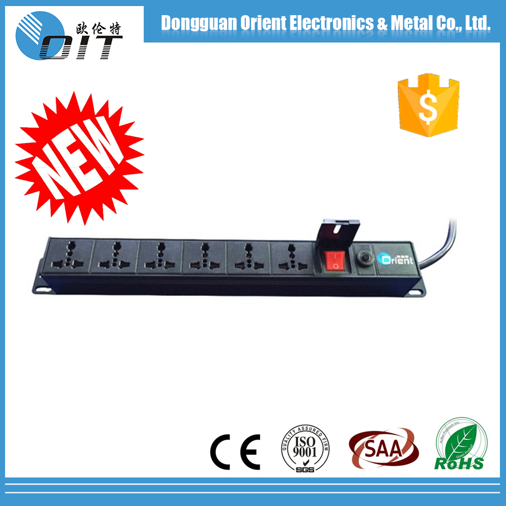 1U 6 outlet UN type PDU socket and power meter with overload switch and double-off switch