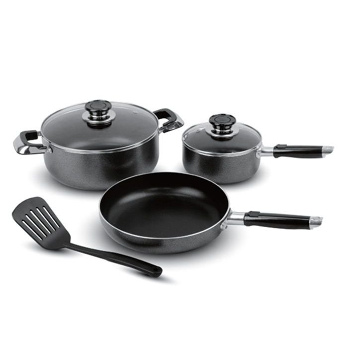6pcs Non-stick Cookware Set with Powder Coating