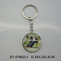 lady design glass metal keychain