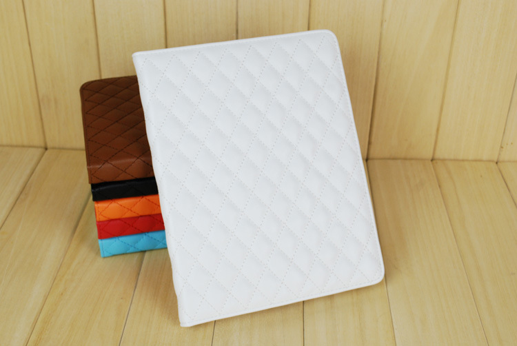 Imitation sheepskin Grid Style PU Leather Case w/ Stand for iPad Air iPad5