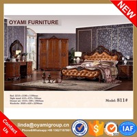 Beautiful fashion Modern classic Latest design solid wood bed