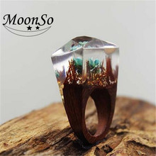 Handmade Wholesale Hot Exquisite Secret Wood Resin Rings for Women Jewelry with Miniature Landscapes AR3757