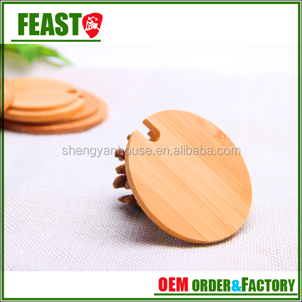 Bamboo lid / glass jar wooden lid bamboo lid customized size bamboo lid manufacturer