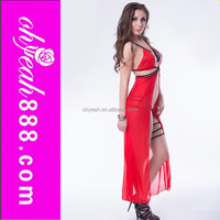 Wholesale China hot sales mature women long maxi sexy nighty front open sexy transparent night gown