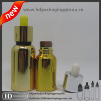 childproof tamper cap e cig liquid gold 30ml glass dropper bottle with shrink bands
