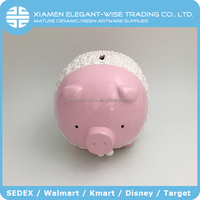 Customized shaped lovely ceramic pig coin bank,pink pig piggy bank