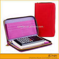 PU leather fashion office zipper lock agenda organizer with calculator
