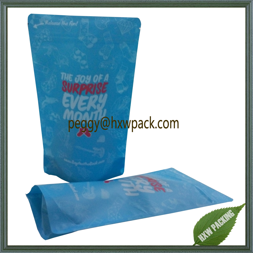 Stand up matt plastic bag for socks packaging/cloth packaging/underwear packaging pouch