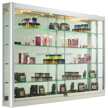 N375 Display Case w/4 Top Lights & Mirror Back, Tempered Interior Decoration Sliding Glass Door Showcase