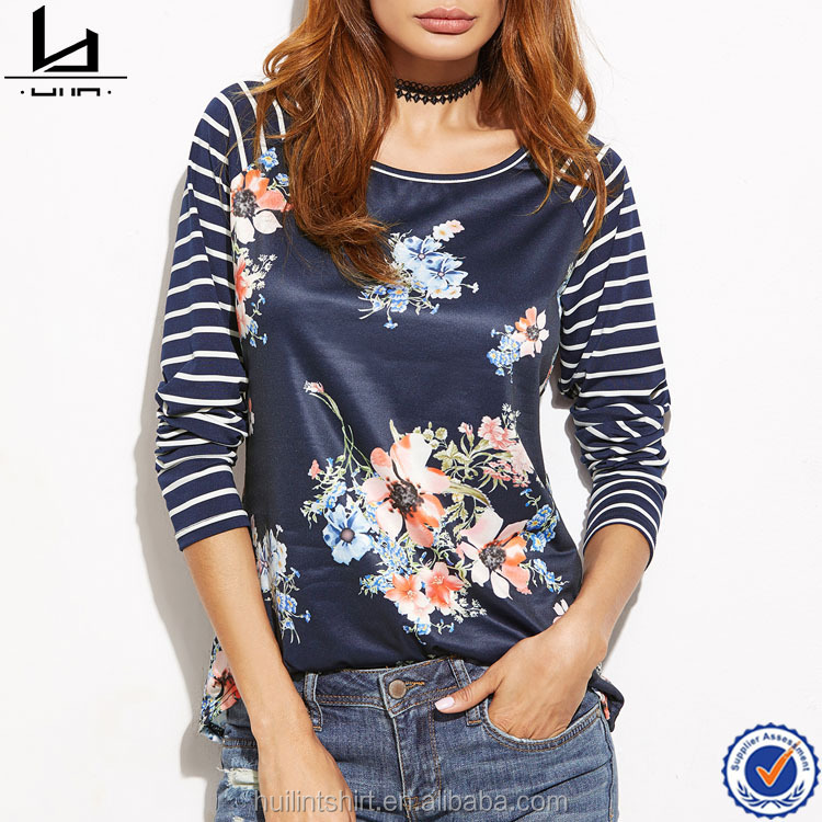Online shopping high quality best selling printed raglan floral t shirt