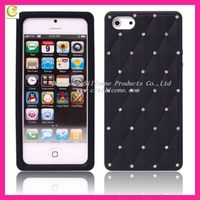 2013 most newest beautiful silicone rubber case cover for apple iphone 5,the back with fake diamond