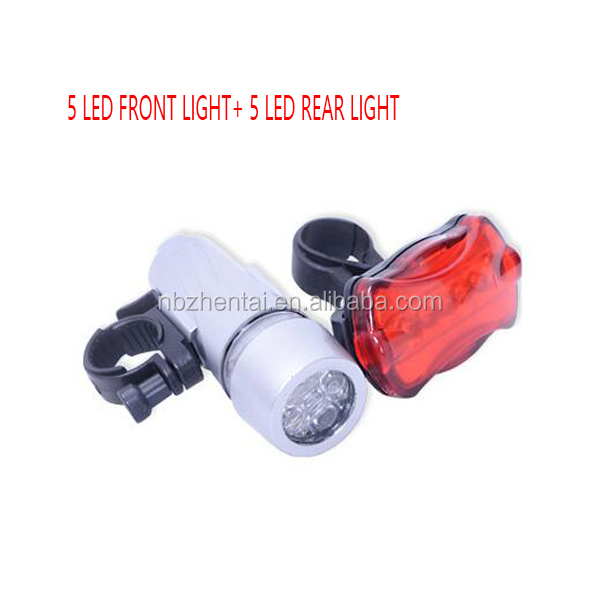 Wholesale Product 5 LED Lamp Bike Bicycle Front Head Light + Rear Safety Flashlight