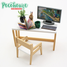 Hot selling quality wooden study room diy miniature dollhouse furniture kit for children