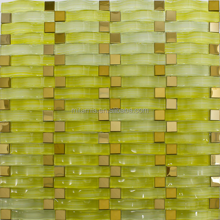 Wavy Yellow Crystal Glass Mosaic Tiles