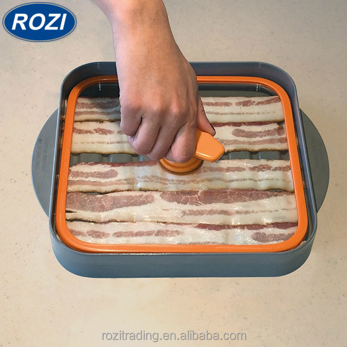 Microwave Bacon Cooker, Baconboss, Kitchen Boss Cooking Crispy Bacon, Tray, Rack