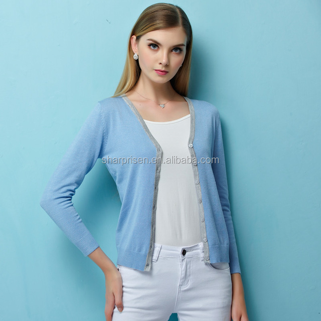 Spring/Autumn Womens Basic Long Sleeve V Neck Button Up Knit Cardigan Sweater OEM Factory