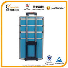 blue pvc trolley cosmetic packaging with diamond pattern