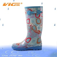 2015 blue color women sex ladies high heel rubber boots factory