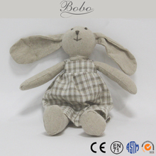 Fine Linen Cloth Bunny with Long Ears Stuffed Rabbit Toys