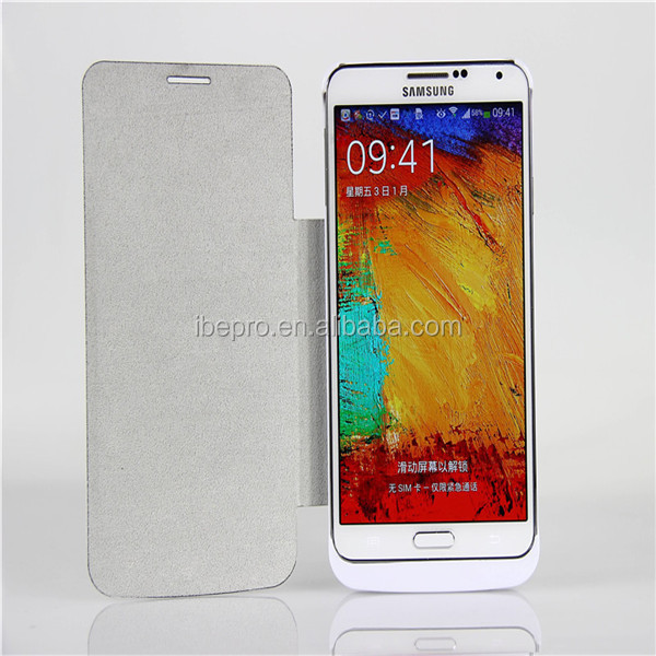Flip Leather Cover 4200mAh Lithium ion Polymer Battery Case for Samsung Galaxy Note3