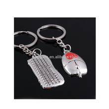 Personality Couple Alloy Key Chain 1pc Mouse Keychain And 1pc Keyboard Key Chain