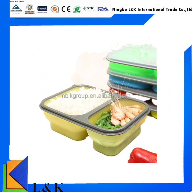 Dishwasher safe collapsible lunch box, silicone foldable lunch container with lids