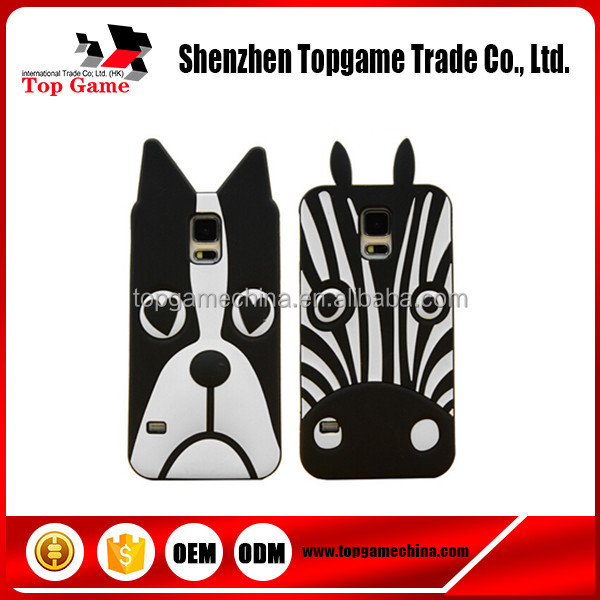 Cartoon Zebra Dog Animal Shaped Silicone Phone Case For Samsung galaxy s5 cell phone cover