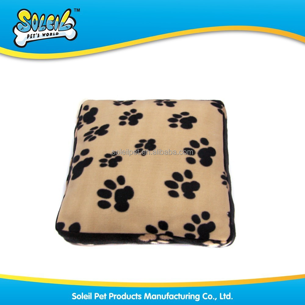 Soft Polyester Square Dog Cushion Pet Cushion With Paw Print