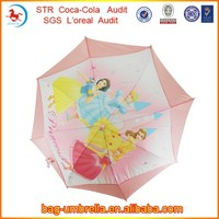 High Quality Pretty Princess Printed Pink Auto Open Straight Kids Umbrella For Girls