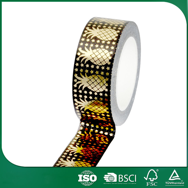 colour paper tape souvenir gift packing custom printing gold blocking washy tape, stripes patterns washy tape
