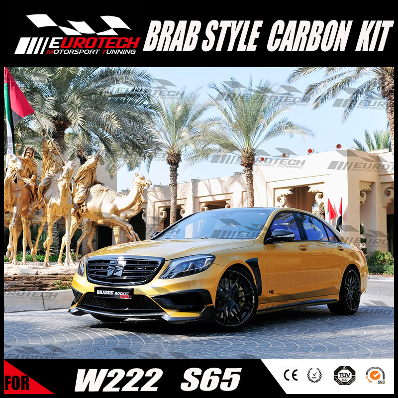 2016 S-class W222 carbon front lip and vent cover Barb design fitting for MB S-class s65 /1:1convertion kit