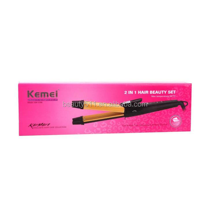 Wholesale Two-in-one Tourmaline ceramics Hair straightener Curling iron KM-1268