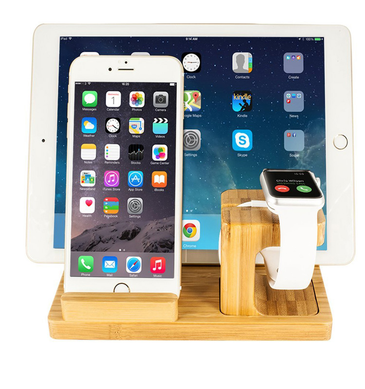 Wood USB Charging Dock Station for Apple Watch and Bracket Desk Holder Cradle