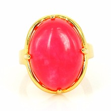 Fashion Jewelry Wholesale 24kt Gold Plated Big Semi Precious Stones Ring Women