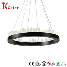 Hotel Dining Design Vintage Decorative LED Frosted Black Wrought Iron Round Shaped Pendant Lighting Crystal Halo Chandelier