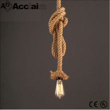 Modern new design LED industrial hemp rope chandelier lamp with edison bulb