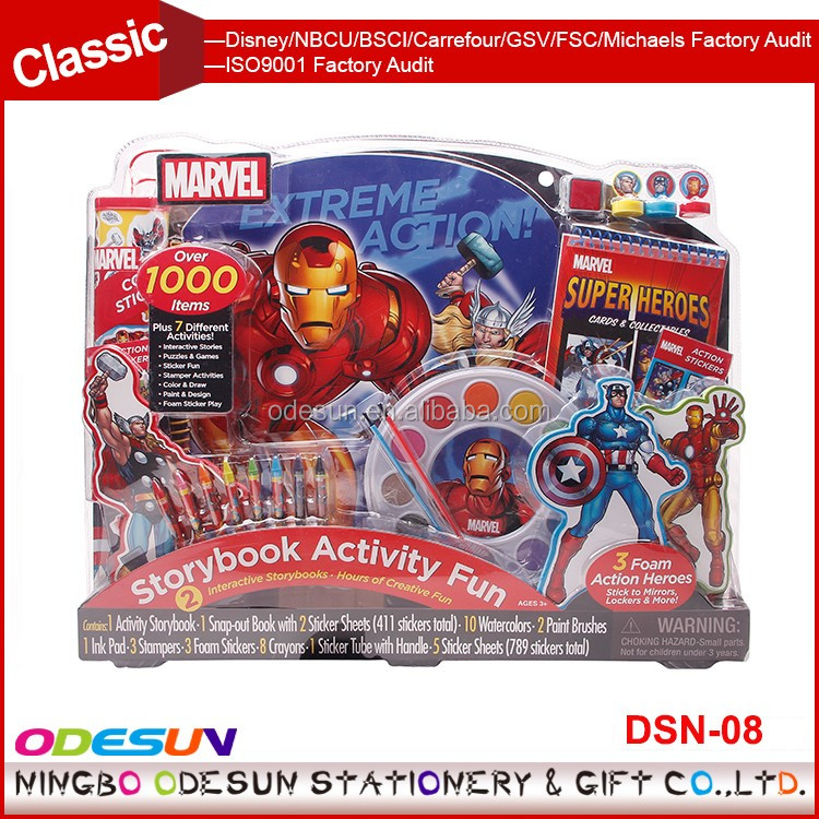 Disney Universal NBCU FAMA BSCI GSV Carrefour Factory Audit Manufacturer Children Gift Stationery Set For Students Super Heroes