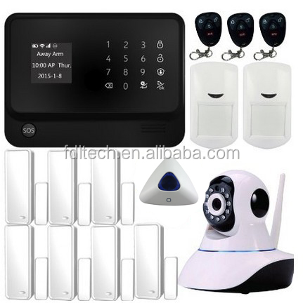 Black+white color wifi gsm alarm system with Google and IOS App for all operation,alarm delay,arm delay,time setting etc