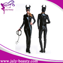 Women Latex Transparent Catsuit in Black leather