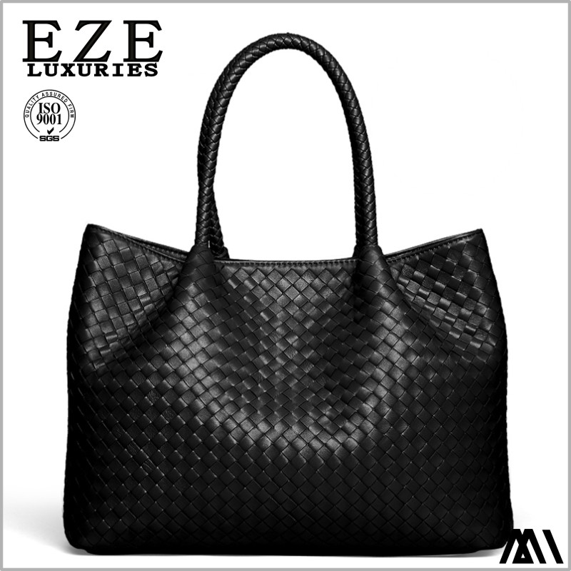 quality low moq oem fashion ladies braided bags woven pu leather handbag women