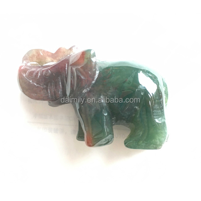 Natural Indian Agate Elephant Carving Gemstone Beads Semiprecious Stone Jewelry