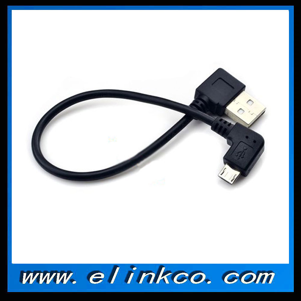 Short 30cm Right Angle 90 Degree Micro B USB Data Charging Cable for Android