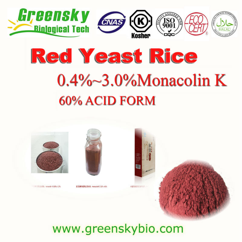 100% Pure Nature GMP Factory Red Yeast Rice with 0.4% 1.5% 3.0% monacolin k