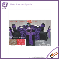 #19805Hot sales dining room purple wedding rosette table covers