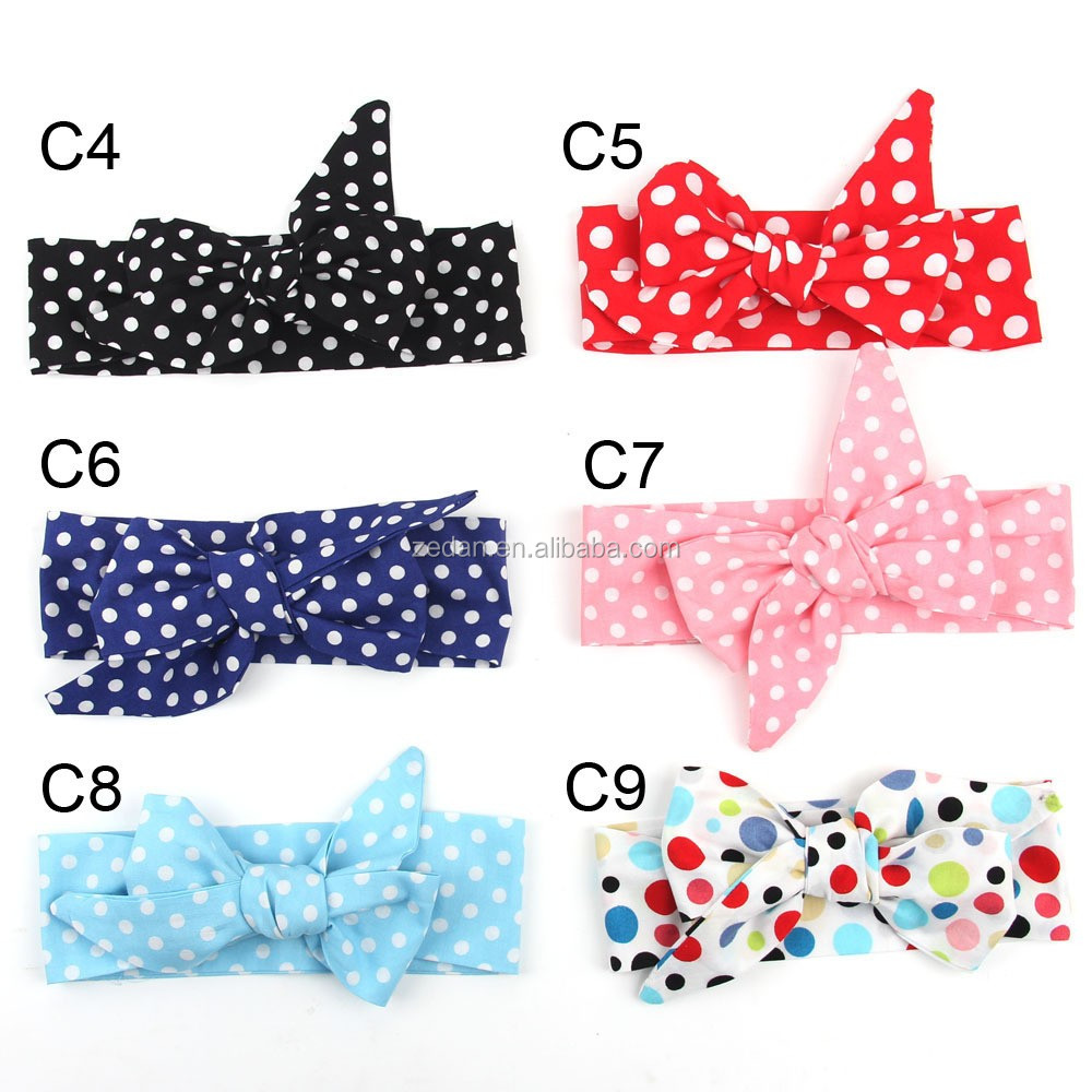Hot Sale Fancy 100% Cotton Cute Baby Girls Fabric Flower Hair Accessories Big Bow Knot Headbands