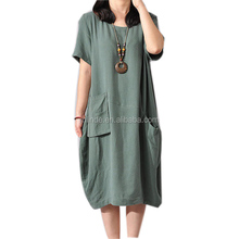 Clothing manufacturer in china wholesale cotton summer linen loose fit short sleeve large size dress for women casual