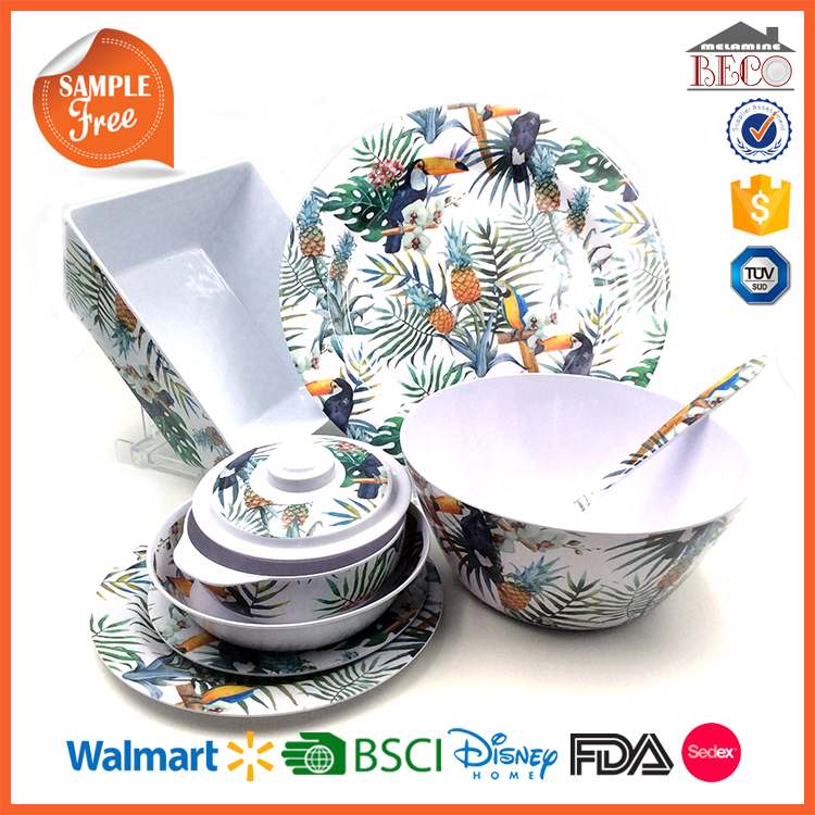 China Supplier Wholesale Plastic Melamine European Dinnerware Sets
