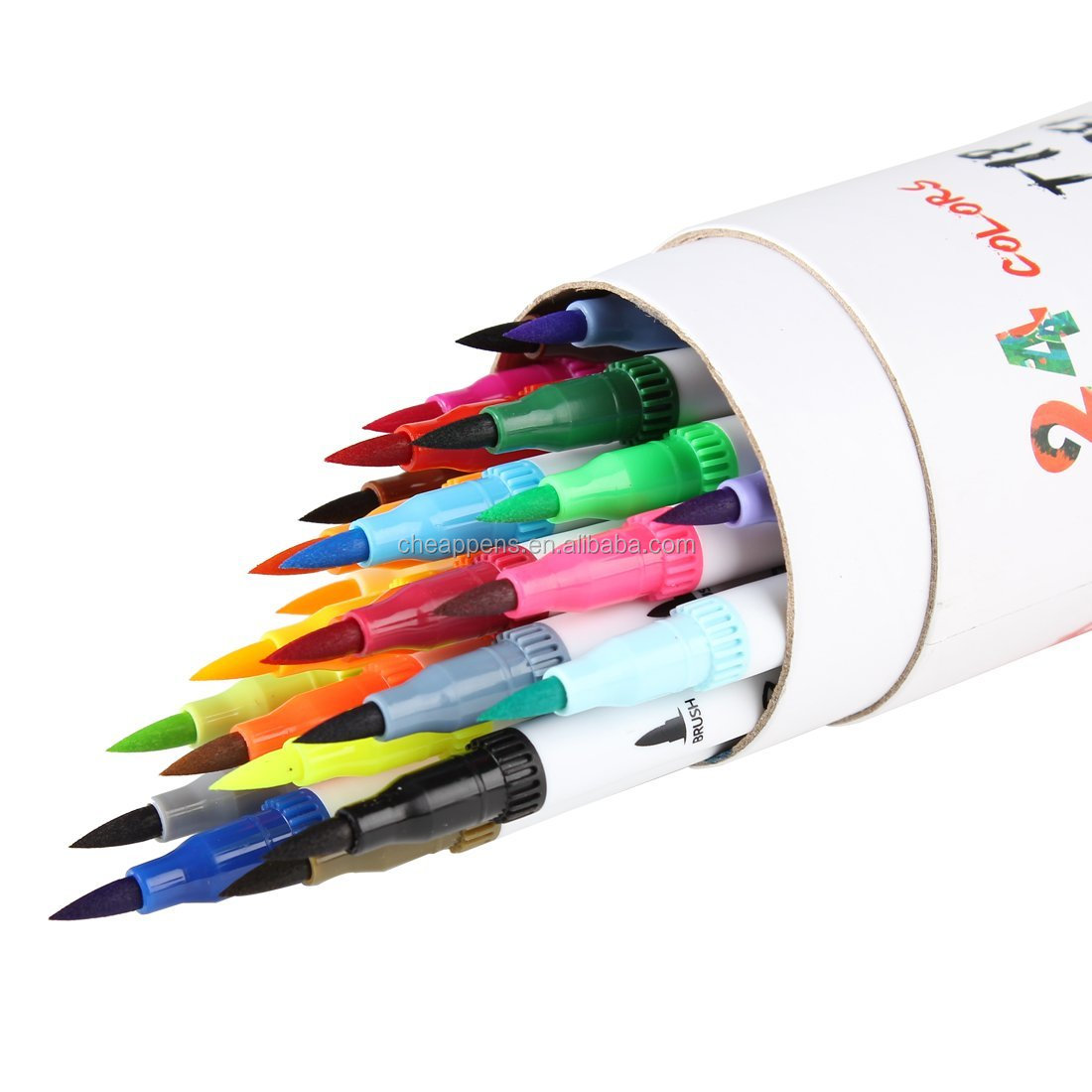 Dual Tip Brush Marker Pens, Tanmit 0.4 Fine Tip Markers with drum tube