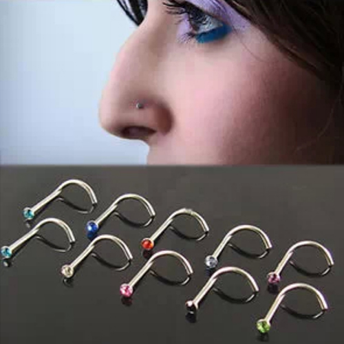 Mix Colors Rhinestone Hook Bone Bar Pin Piercing Jewelry Nose Studs