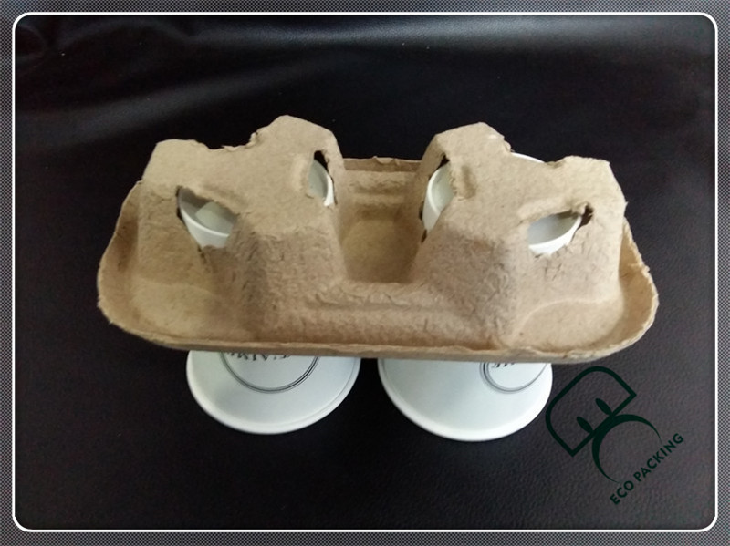 Pulp paper biodegradable coffee cup holder tray